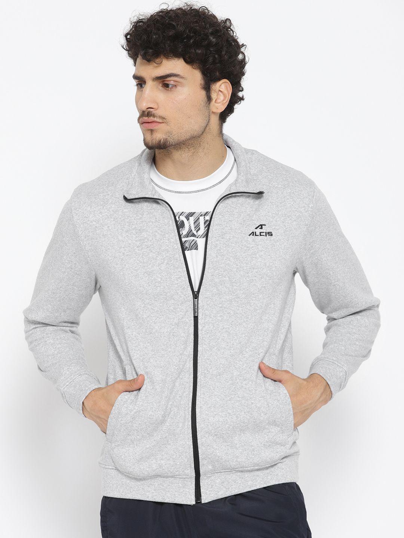 Alcis Grey Cotton Polyester Fleece Jacket Single Pack