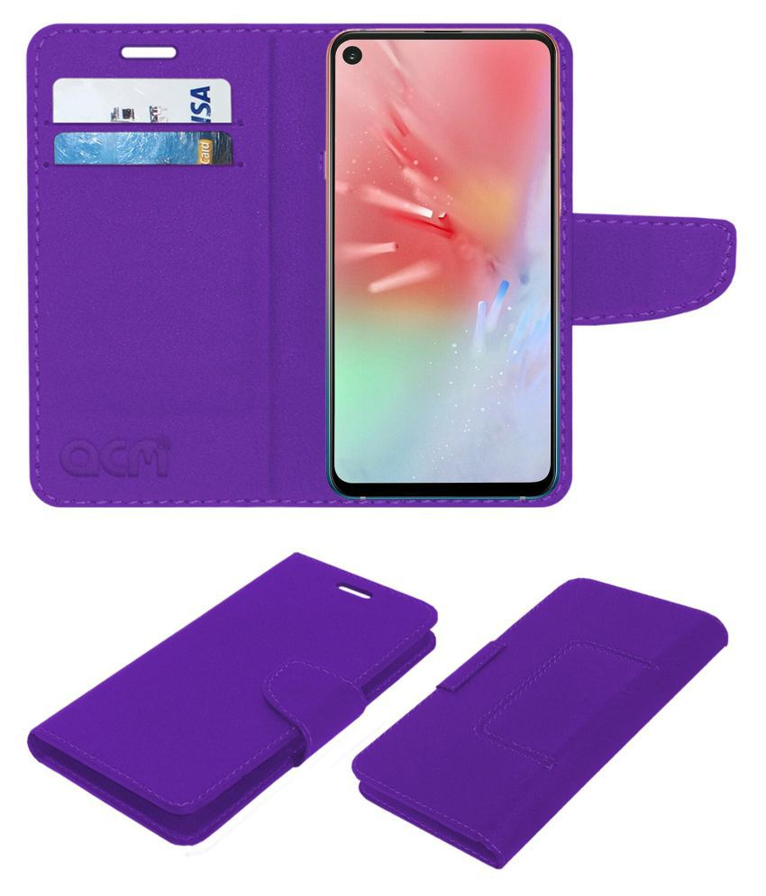 Samsung Galaxy A8s Flip Cover by ACM - Purple Wallet Case,Can store 2 Card/Cash