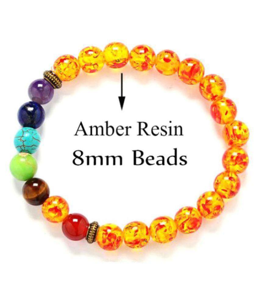 8mm Yellow   Amber 7 Chakra Natural Agate Stone Bracelet