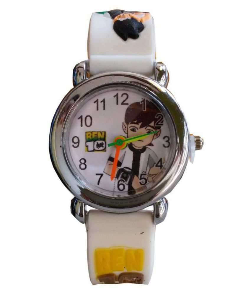 S S TRADERS   White Ben10 Analogue watch for Kids
