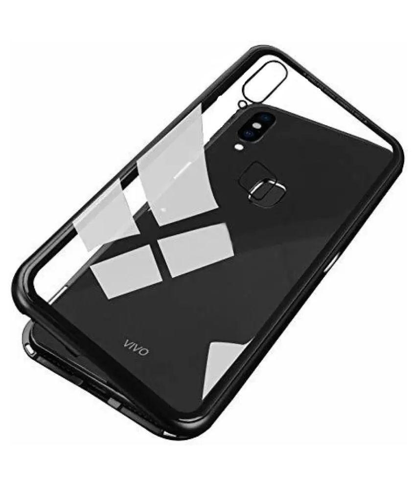 Vivo Y95 Magnetic Cover Case YGS - Black Original Magnetic Metal Bumper  Glass Back Case