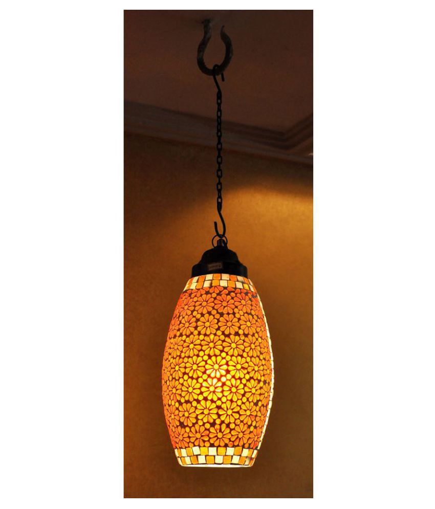 Lal Haveli Glass Decorative Hanging Lamp Night Light  Pendant Multi - Pack of 1