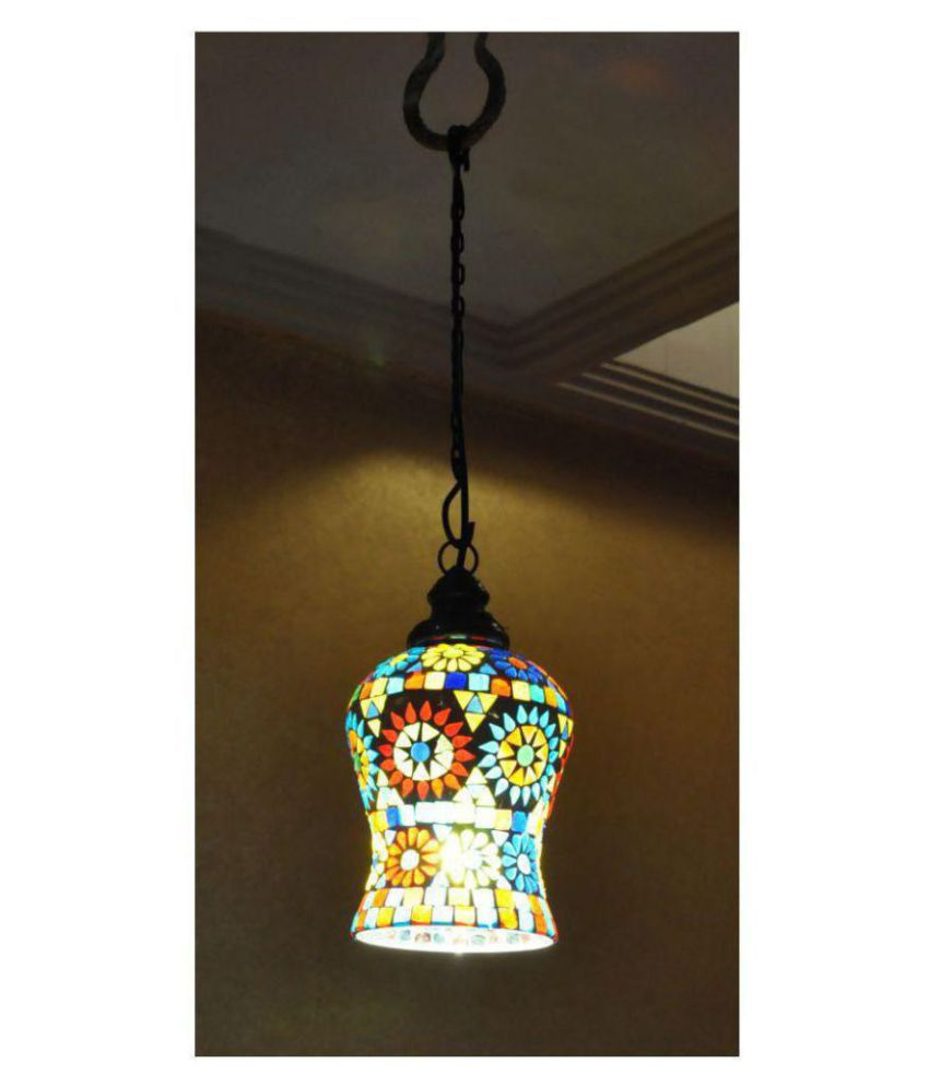 Lal Haveli Glass Decoration Ceiling Light Night Lamp Pendant Multi - Pack of 1