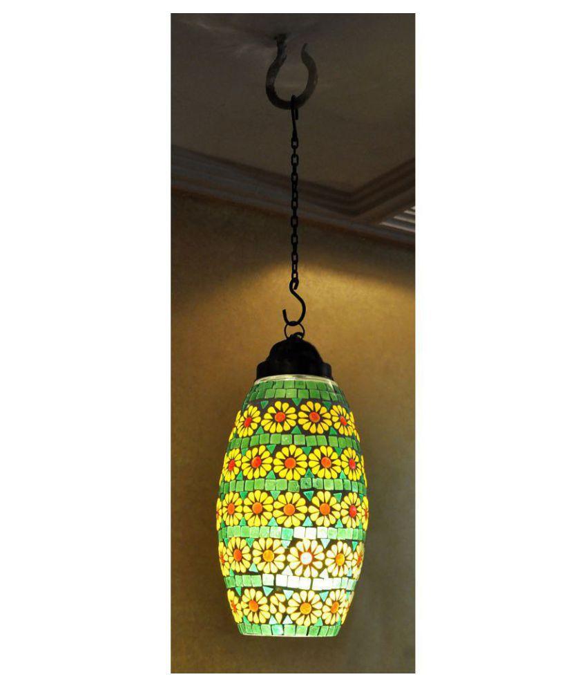 Lal Haveli Glass Mosaic Glass Hanging Lamp Night Light  Pendant Multi - Pack of 1