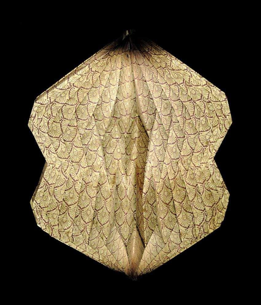 Lal Haveli Paper Decorative Hanging Lamp Night Light  Pendant Beige - Pack of 1