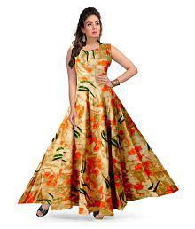 4e28bd7e2f92e Quick View. Frionkandy Rayon Orange A- line One piece Western Dress Women