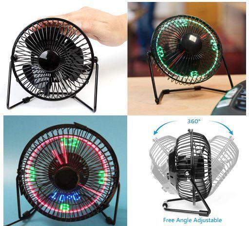 USB LED Fan, 4 inch Portable Fan 360 degree Rotation with