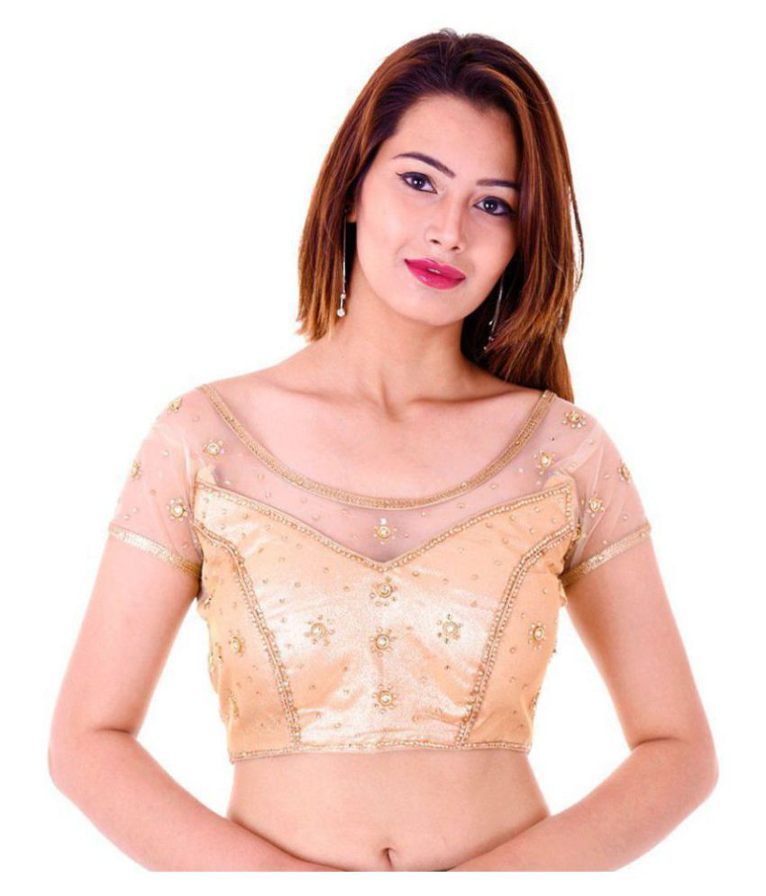 Bulbul Gold Net Readymade with Pad Blouse