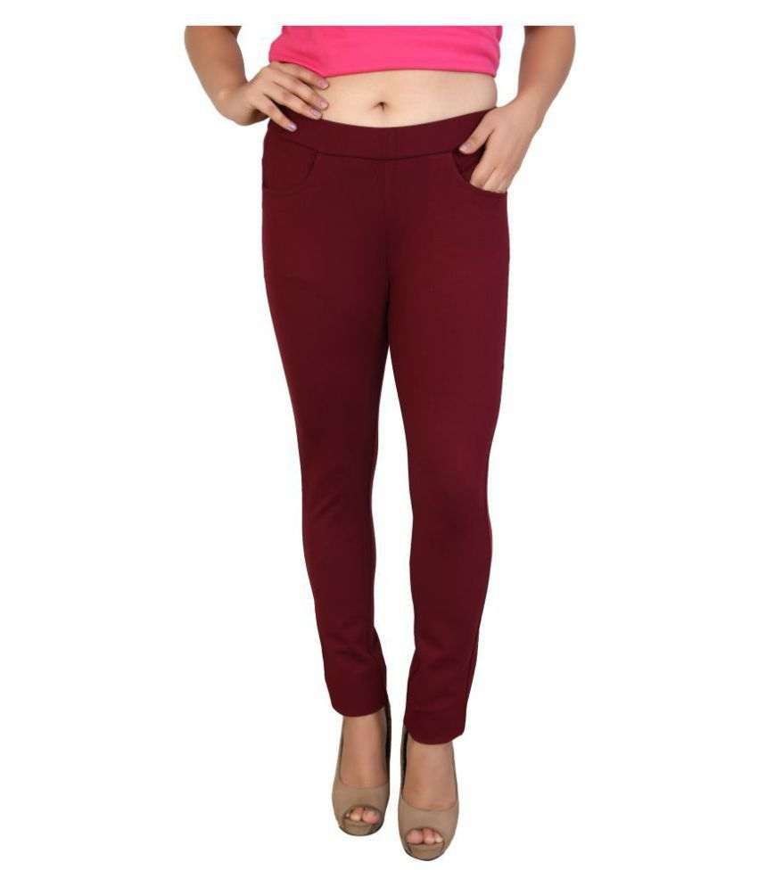 FCK-3 Denim Jeggings - Maroon