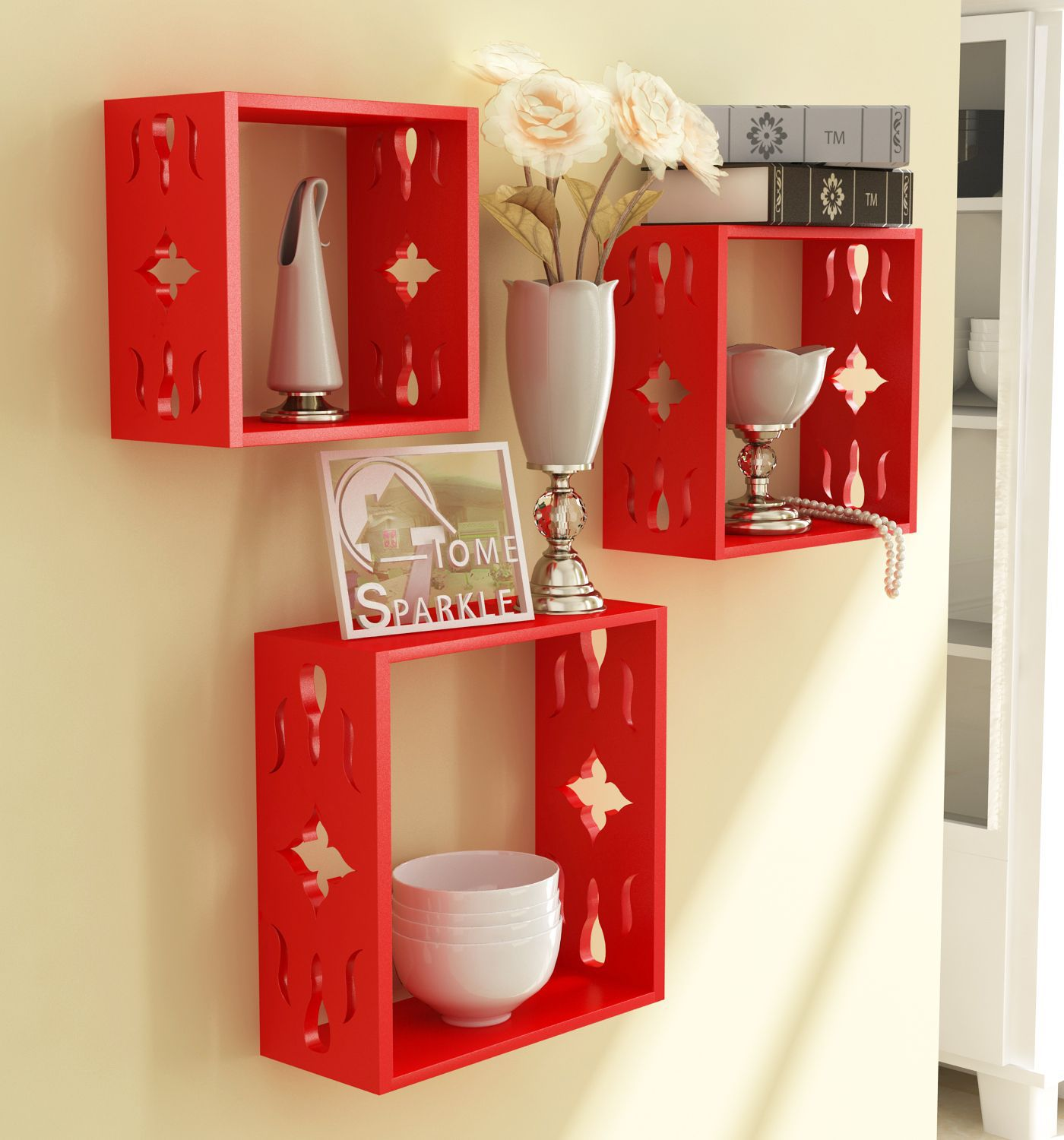Home Sparkle MDF 3 Cube Shelves For Wall Décor -Suitable For Living Room/Bed Room (Designed By Craftsman)