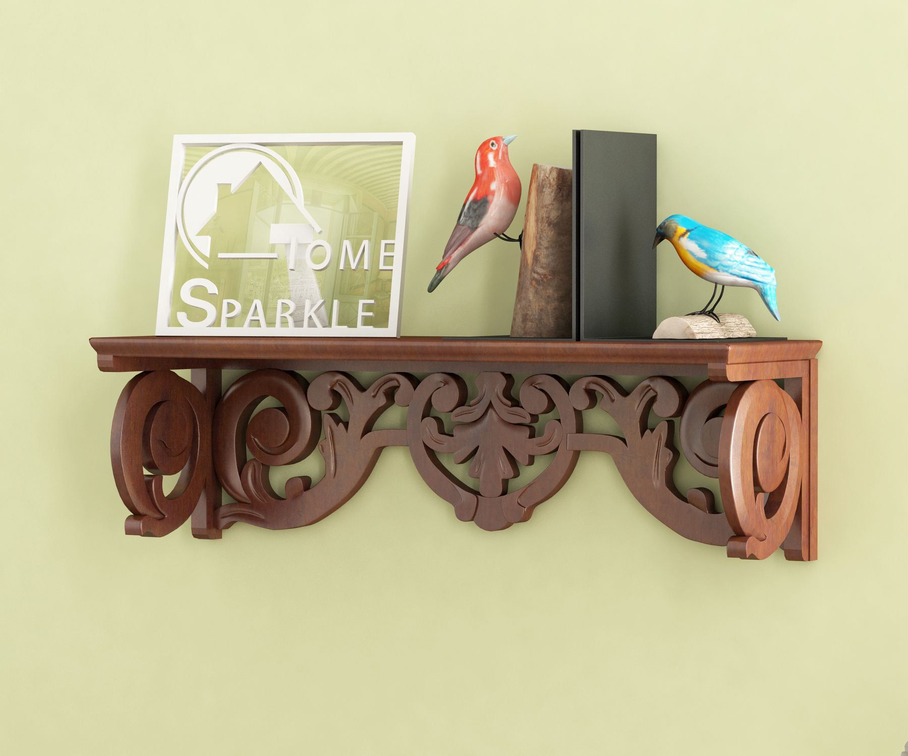 Home Sparkle MDF Carved Wall Shelf For Wall Décor -Suitable For Living Room/Bed Room (Designed By Craftsman)