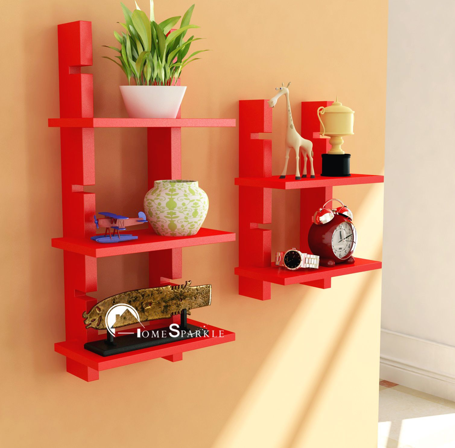 Home Sparkle MDF Ladder Shelf For Wall Décor -Suitable For Living Room/Bed Room (Designed By Craftsman)