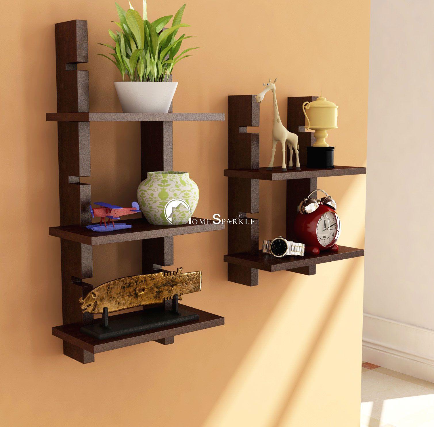 Home Sparkle MDF Ladder Shelf For Wall Décor -Suitable For Living Room/Bed Room (Designed By Craftsman)