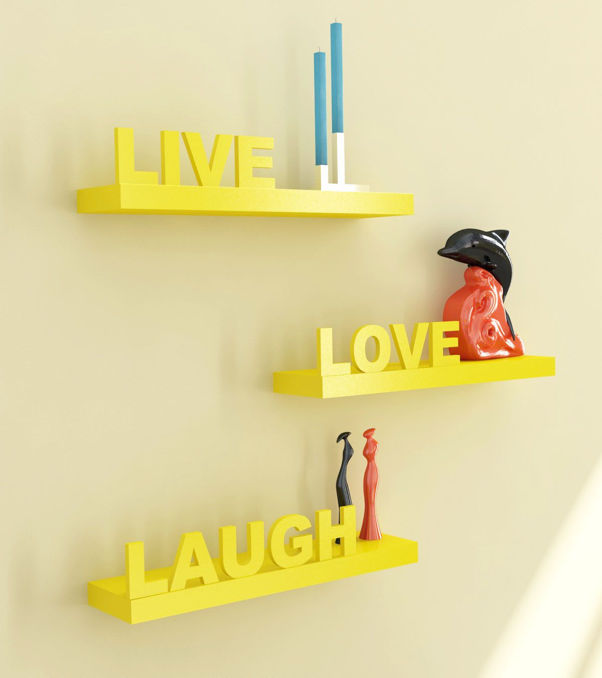 Home Sparkle MDF Live Love Laugh Wooden shelf For Wall Décor  Suitable For Living Room/Bed Room  Designed By Craftsman