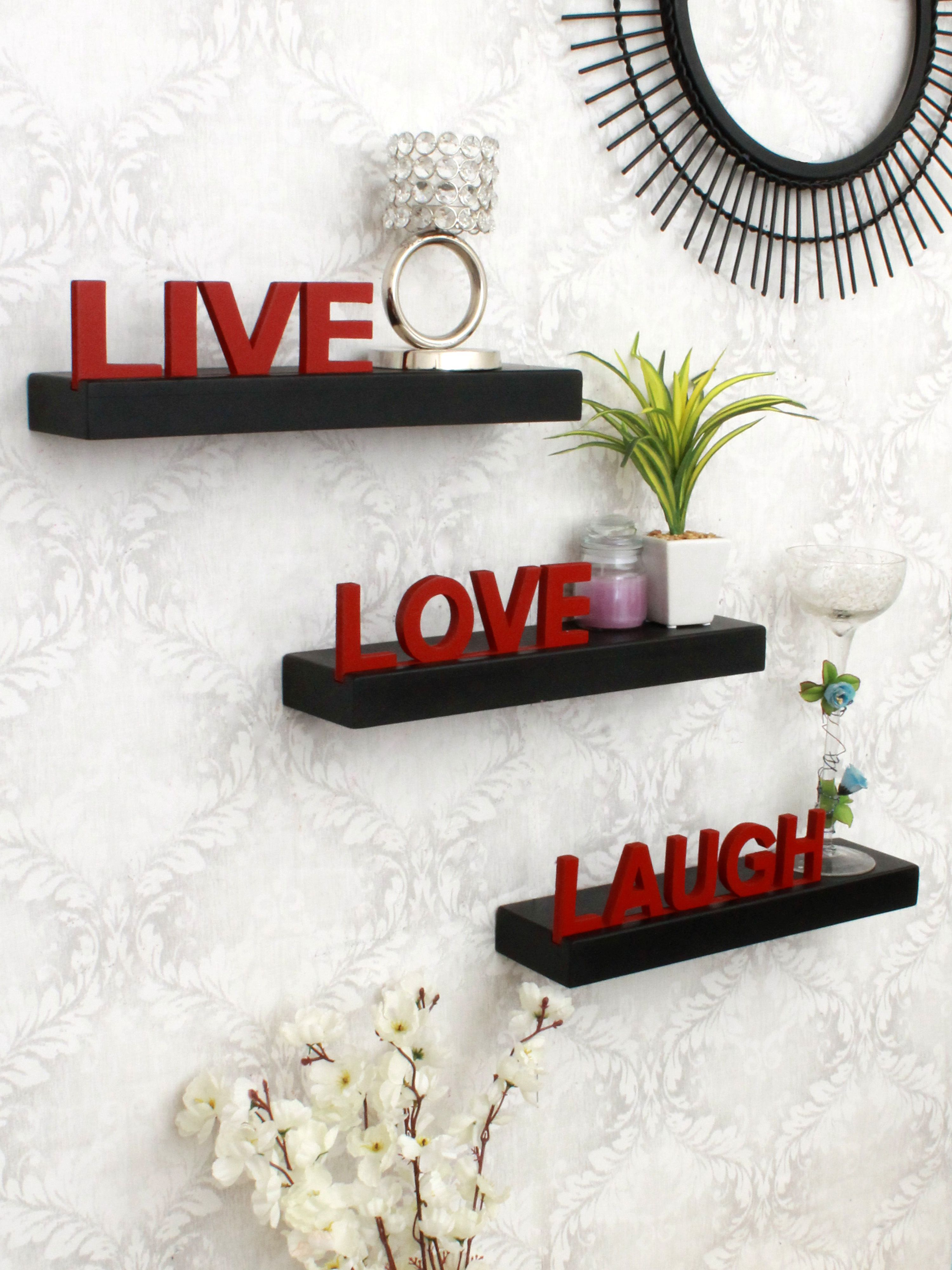 Home Sparkle MDF Live Love Laugh Wooden shelf For Wall Décor -Suitable For Living Room/Bed Room (Designed By Craftsman)