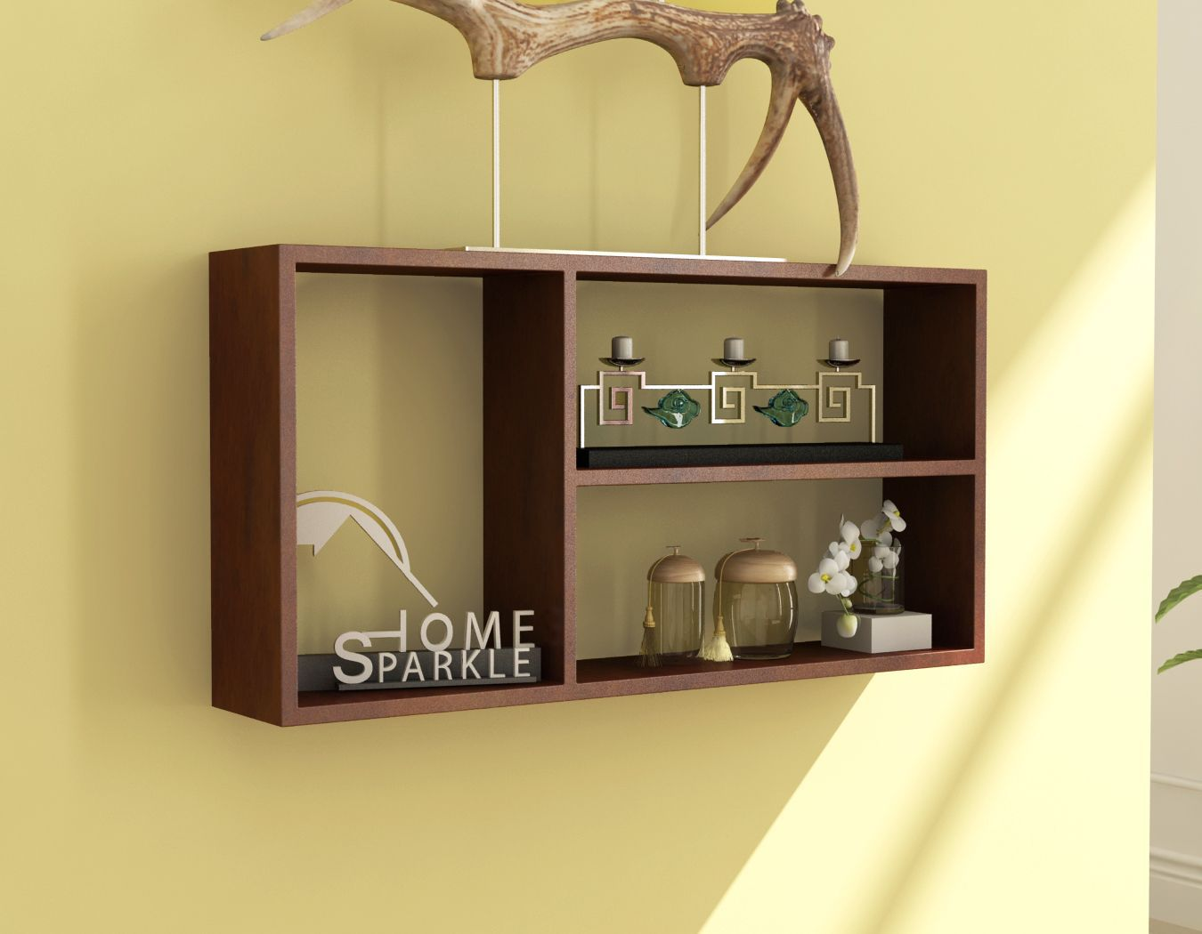 Home Sparkle MDF Rectangle Shelf For Wall Décor -Suitable For Living Room/Bed Room (Designed By Craftsman)