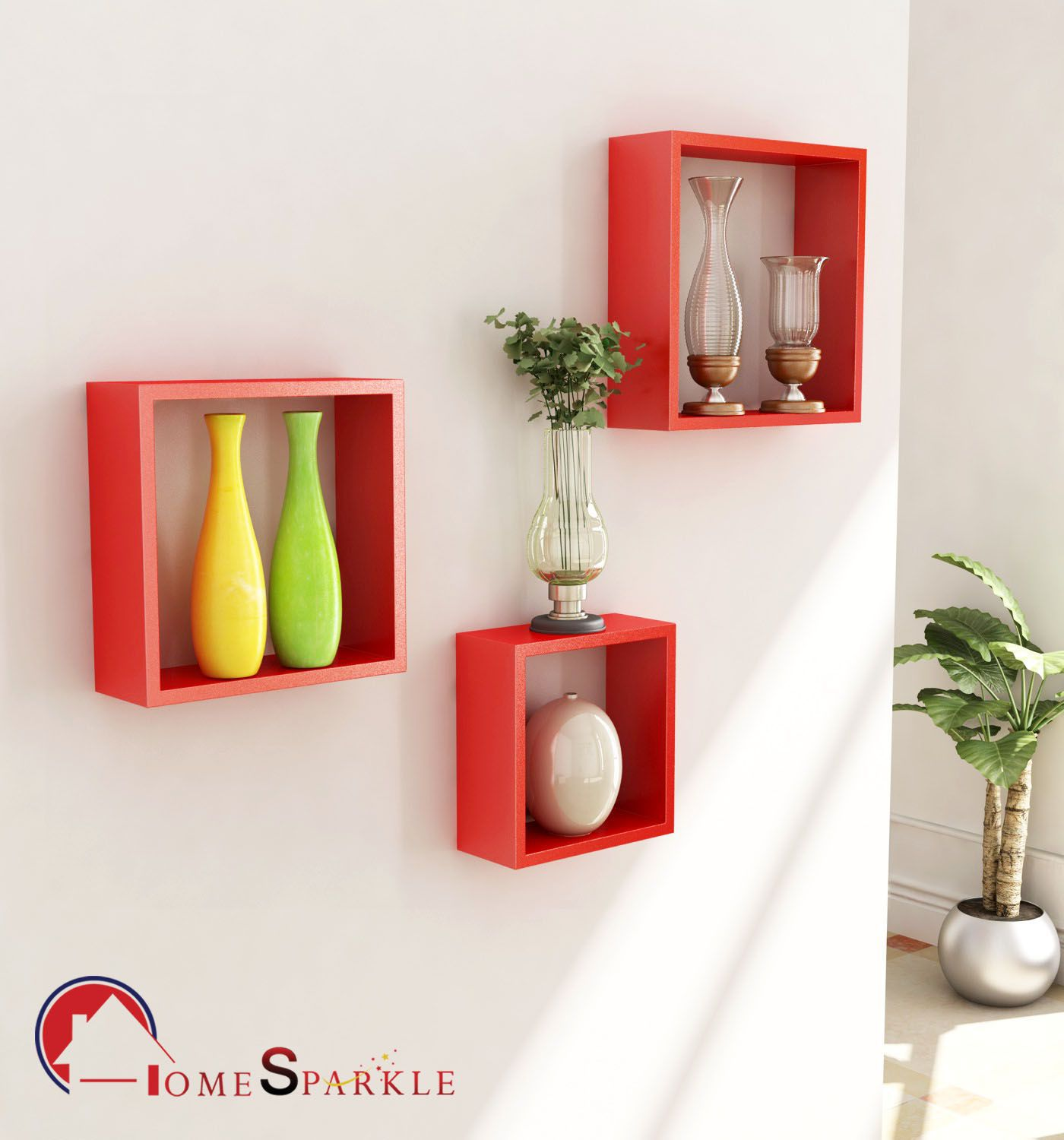 Home Sparkle MDF Set of 3 Square Wall Shelves For Wall Décor -Suitable For Living Room/Bed Room (Designed By Craftsman)
