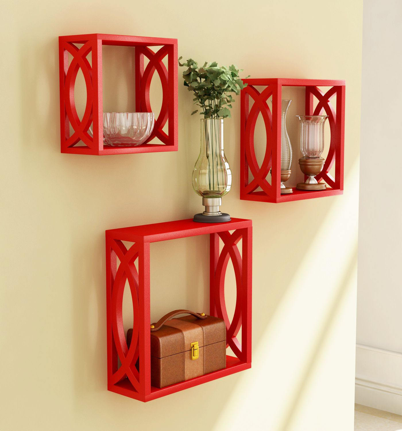 Home Sparkle MDF Set of 3 cube Wall Shelves For Wall Décor -Suitable For Living Room/Bed Room (Designed By Craftsman)
