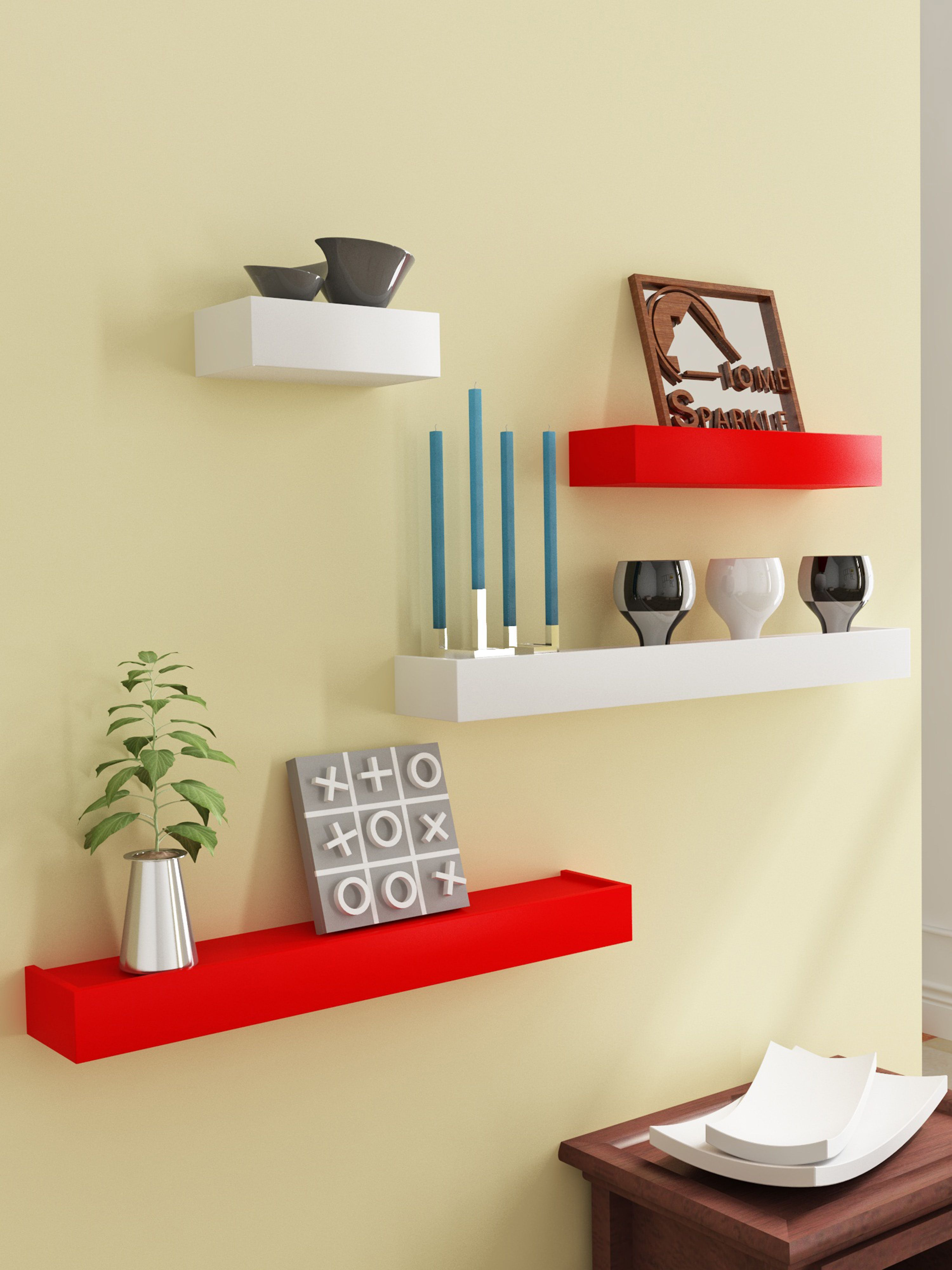 Home Sparkle MDF Set of 4 Floating Wall Shelves For Wall Décor -Suitable For Living Room/Bed Room (Designed By Craftsman)