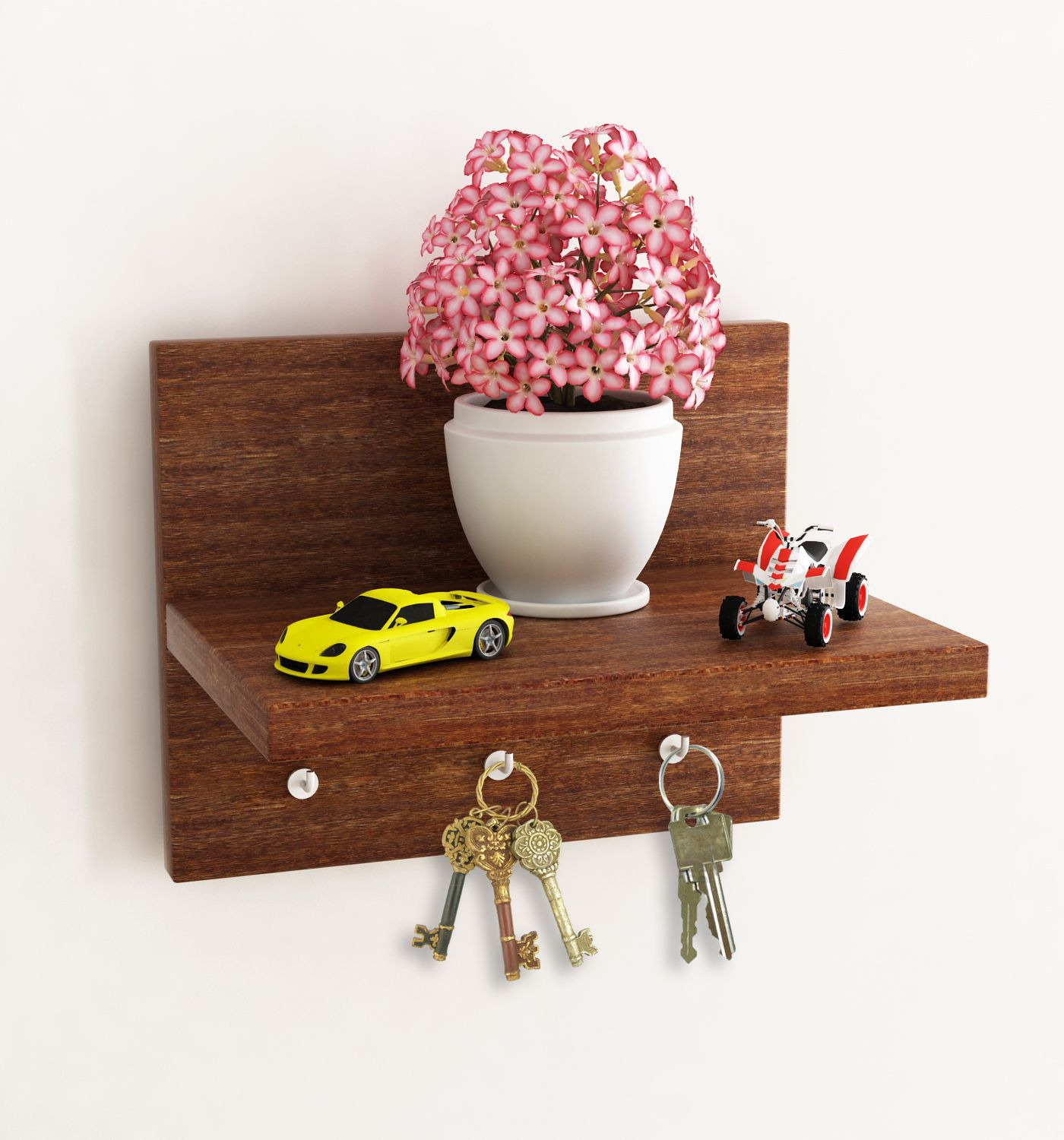 Home Sparkle MDF Wall Shelf Cum Key holder For Wall Décor -Suitable For Living Room/Bed Room (Designed By Craftsman)