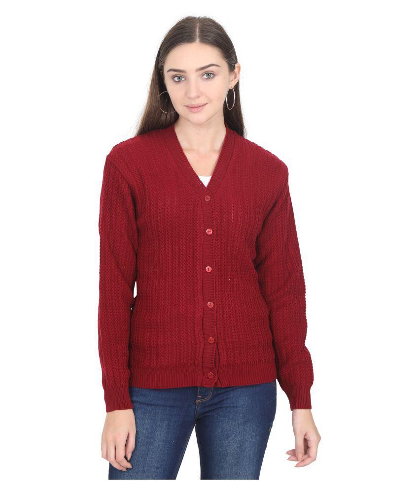 Urban Studio Woollen Red Non Hooded Sweatshirt