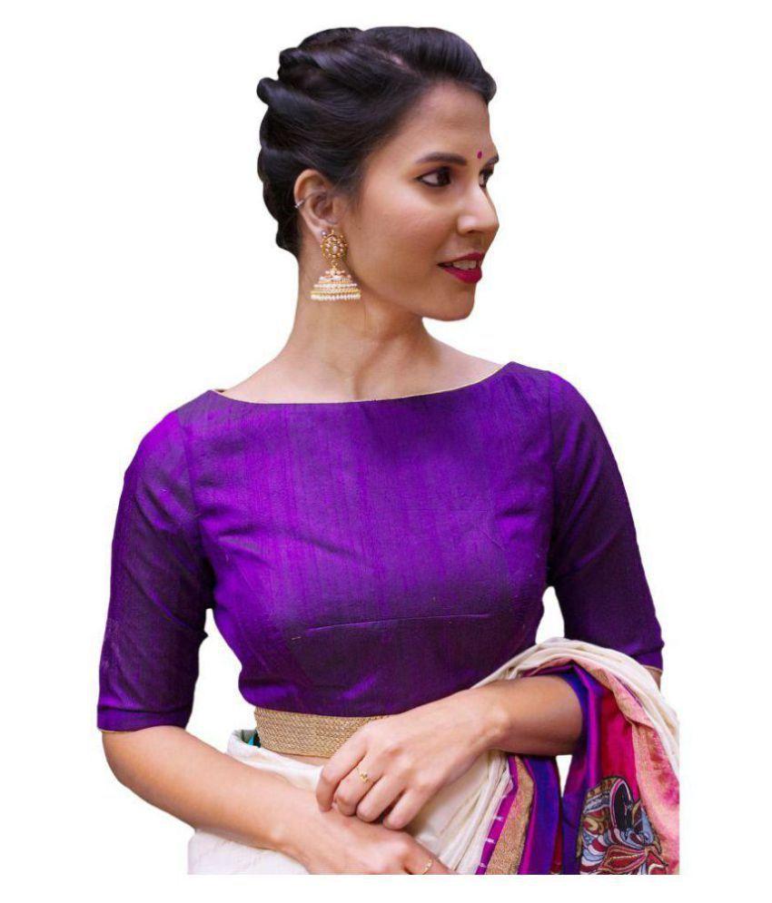 Xomantic Fashion Purple Art Silk Readymade without Pad Blouse