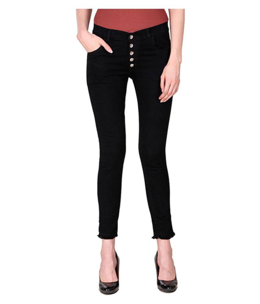 Ansh Fashion Wear Denim Lycra Jeans - Black