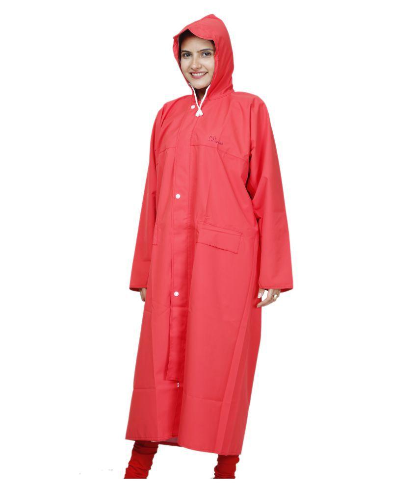 BTC SATYAM Waterproof Nylon Long Raincoat - Red