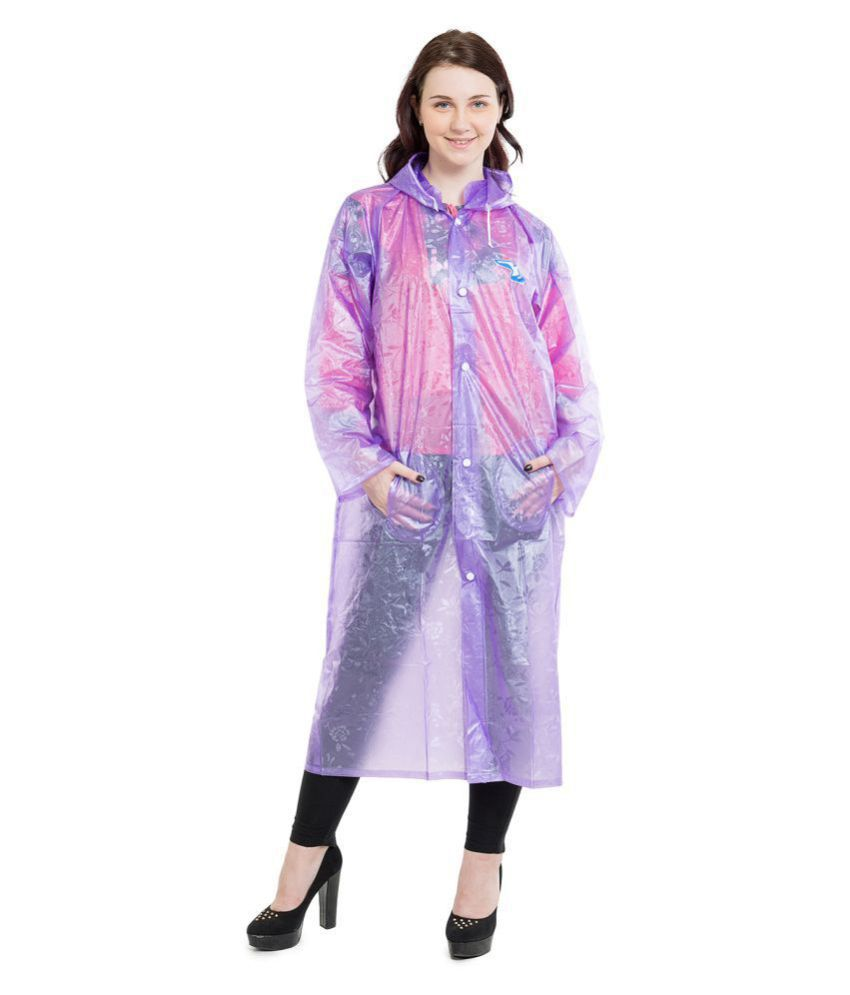 Burdy Polyester Long Raincoat - Blue