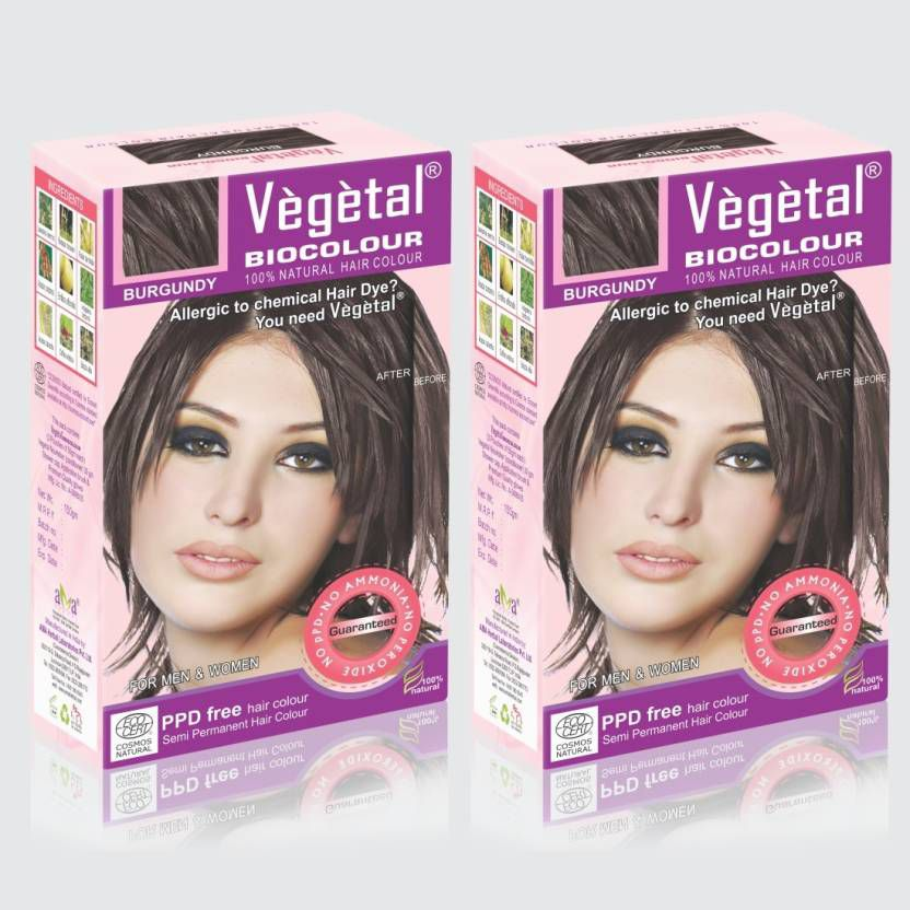 Vegetal Semi Permanent Hair Color Burgundy 150 g Pack of 2