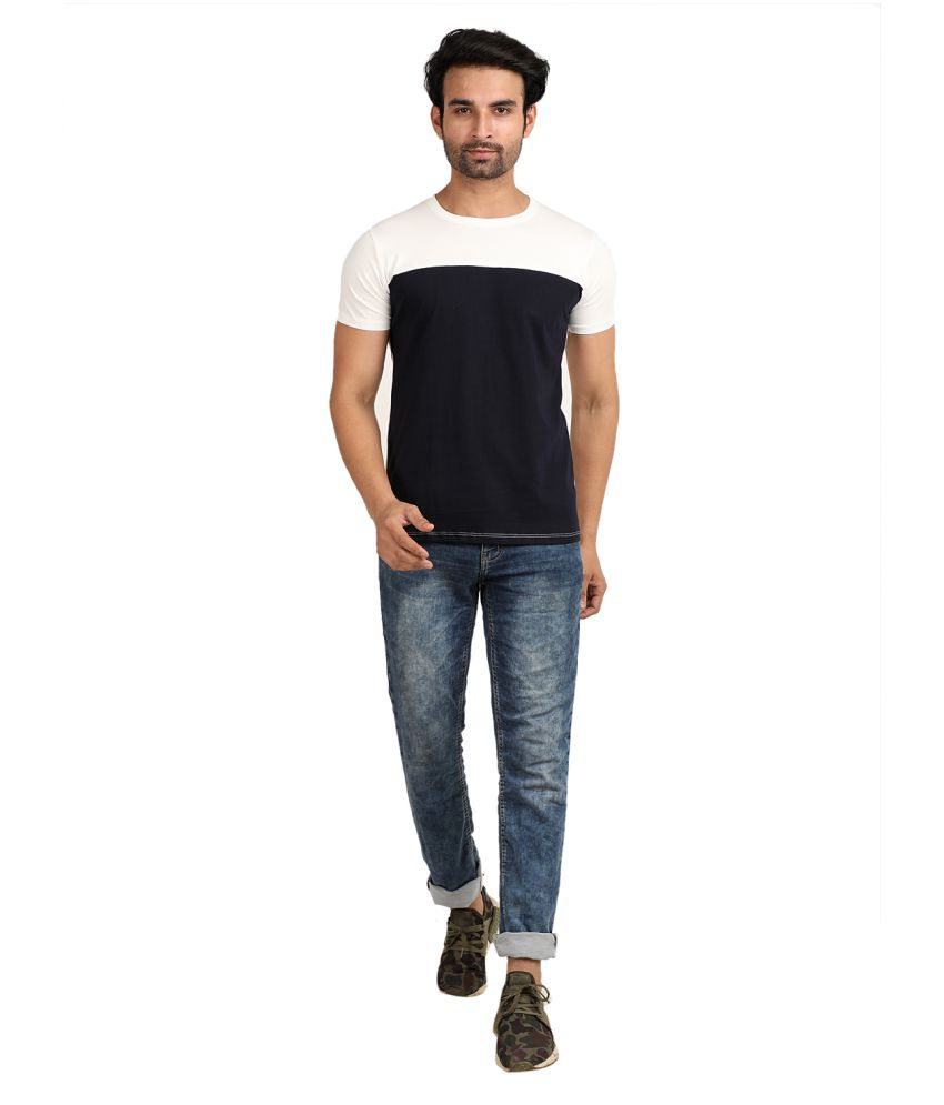 Broadstar Cotton Lycra Navy Solids T-Shirt