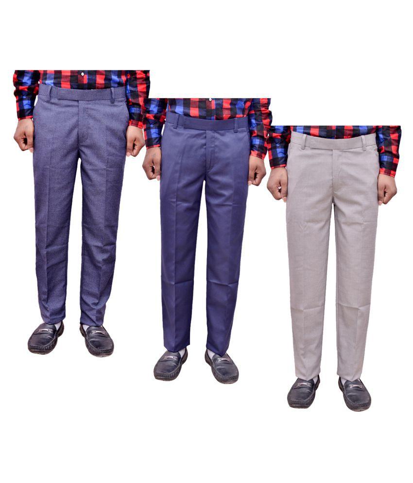 IndiWeaves White Regular -Fit Flat Trousers