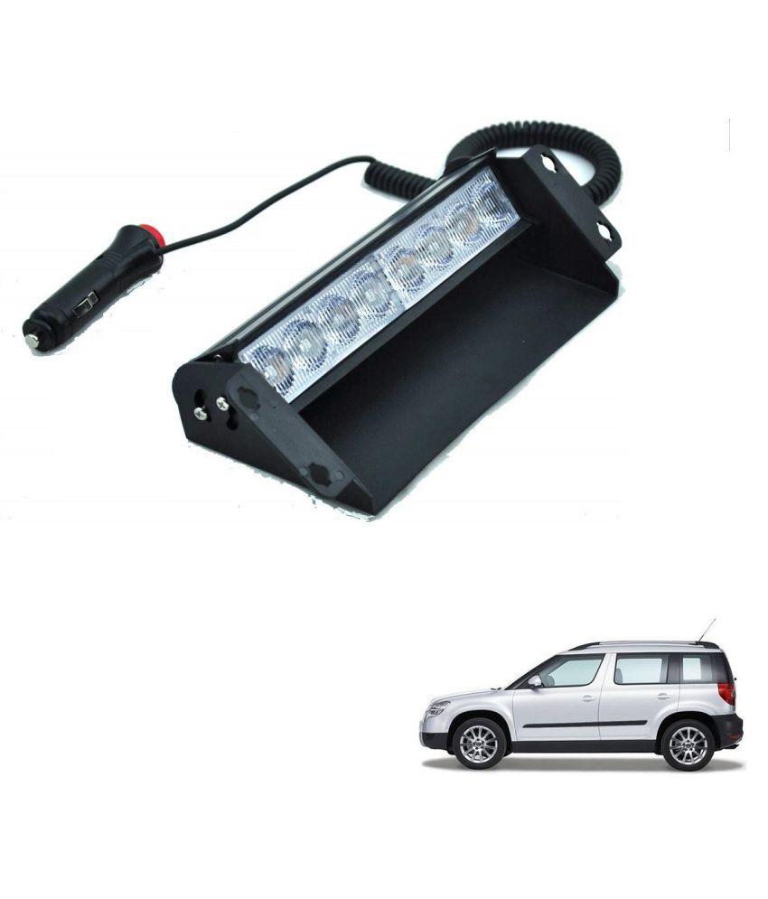 Auto Addict Car 8 LED Police Lights Flasher Light Red Blue Interior Lighting For Skoda Yeti