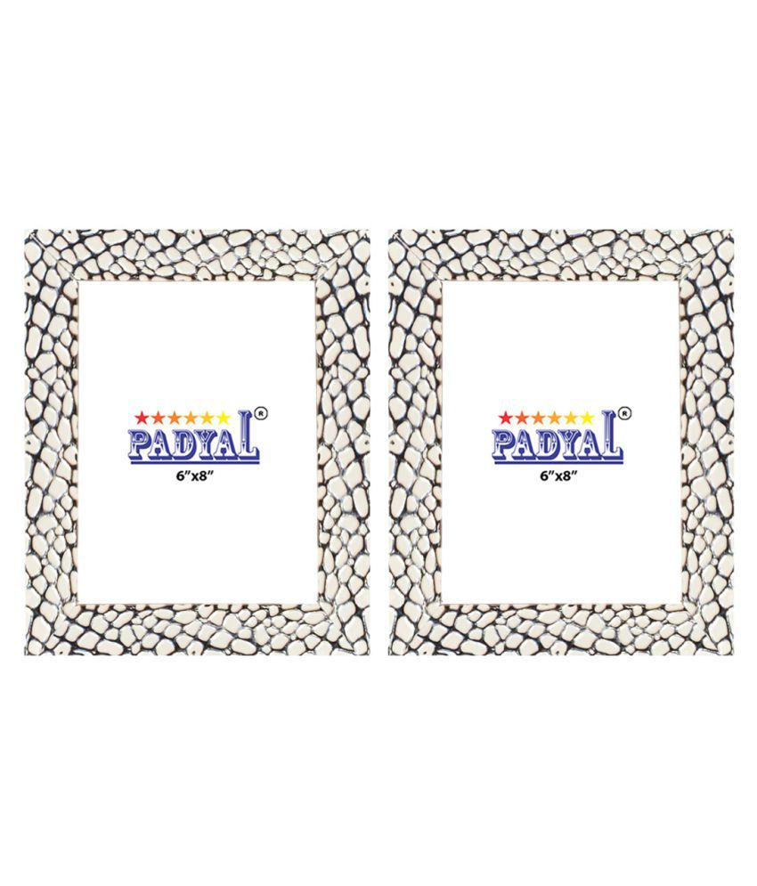 PADYAL Wood Table Top & Wall hanging White Photo Frame Sets - Pack of 2