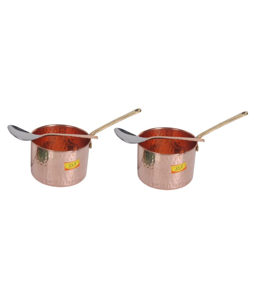 Shiv Shakti Arts Copper SaucePan1.25L 2 Piece Cookware Set