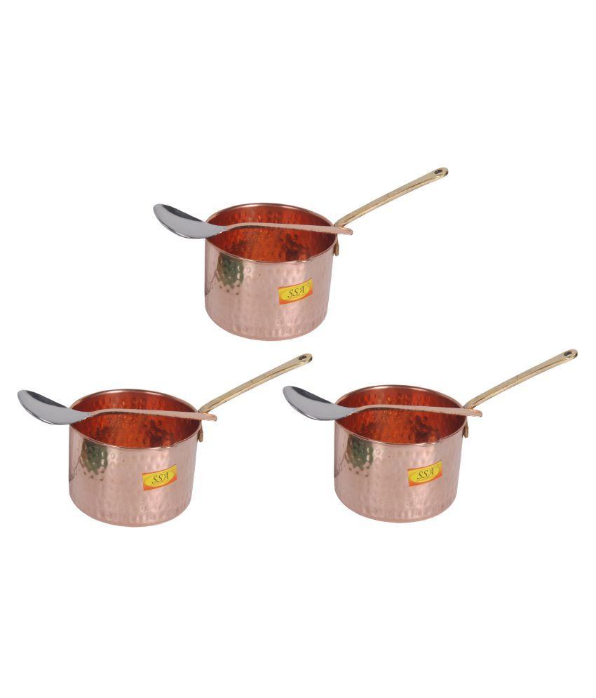 Shiv Shakti Arts Copper SaucePan1.25L 3 Piece Cookware Set
