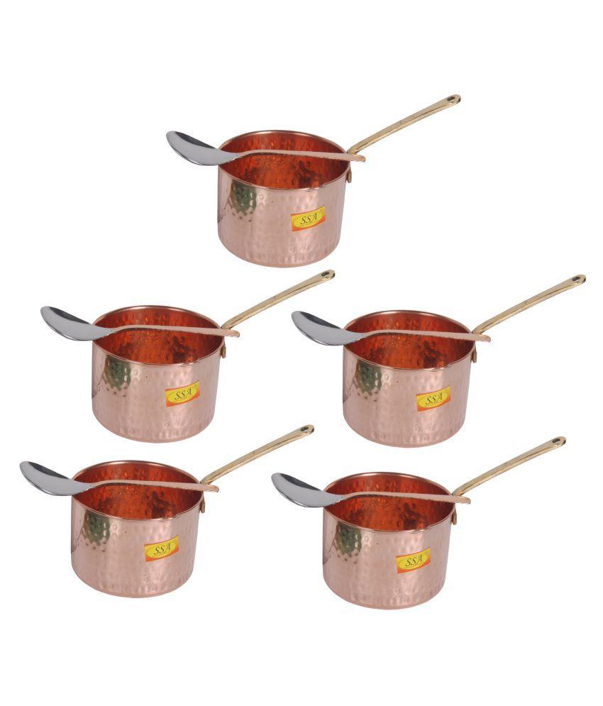 Shiv Shakti Arts Copper SaucePan1.25L 5 Piece Cookware Set