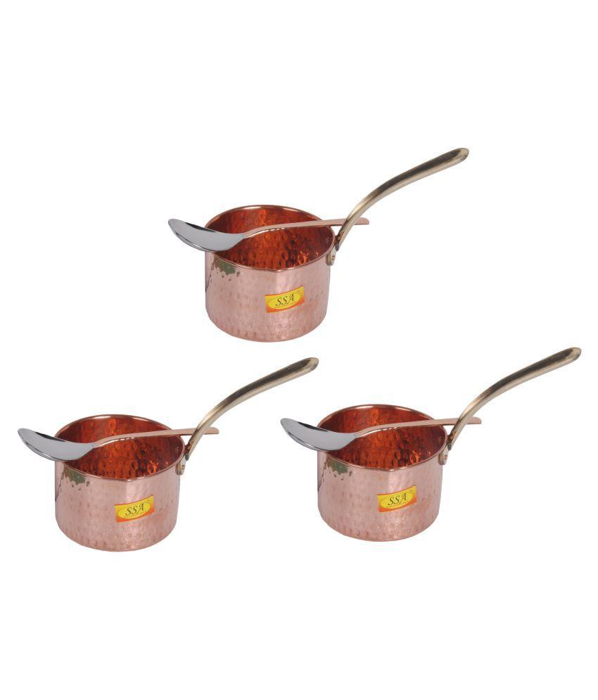 Shiv Shakti Arts Copper SaucePan500ML 3 Piece Cookware Set