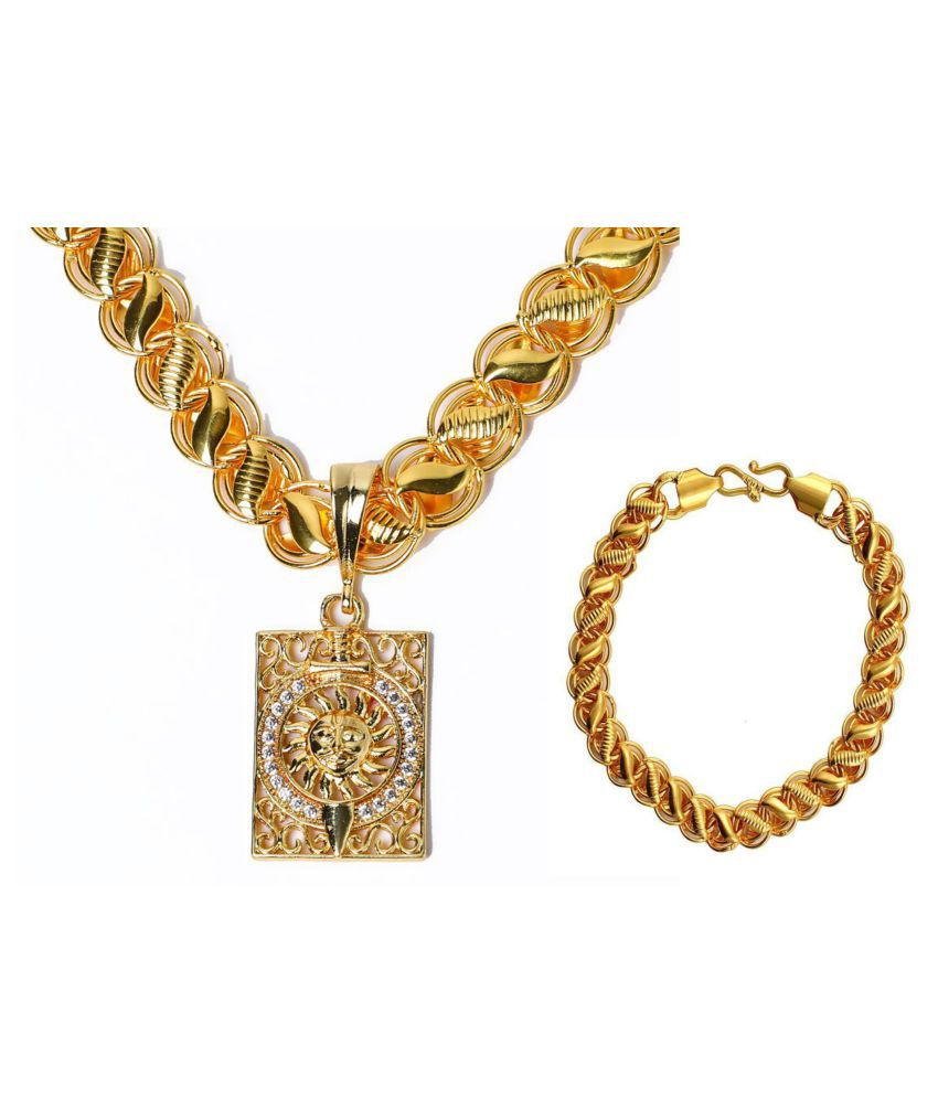 Gold Plated Chain ,Pendant With Breclet for Men