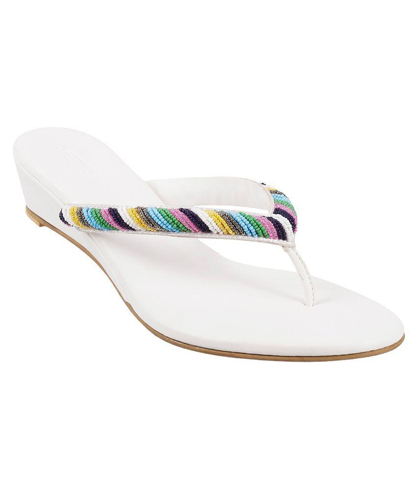 Metro White Wedges Heels