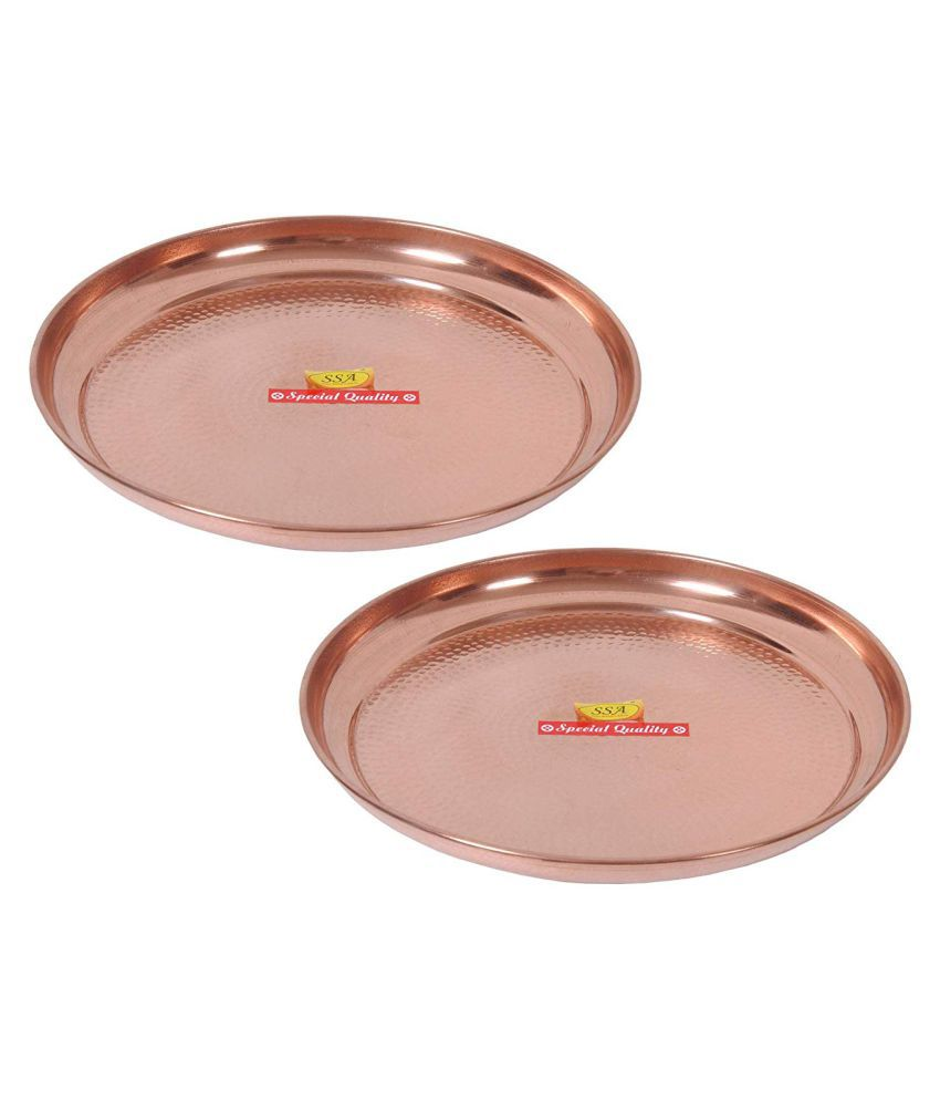 Shiv Shakti Arts Dinnewware Plates Copper Dinner Set of 2 Pieces