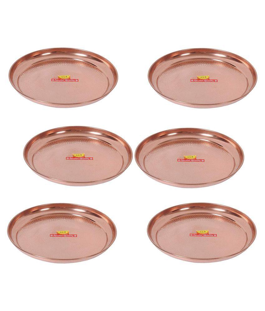 Shiv Shakti Arts Dinnewware Plates Copper Dinner Set of 6 Pieces