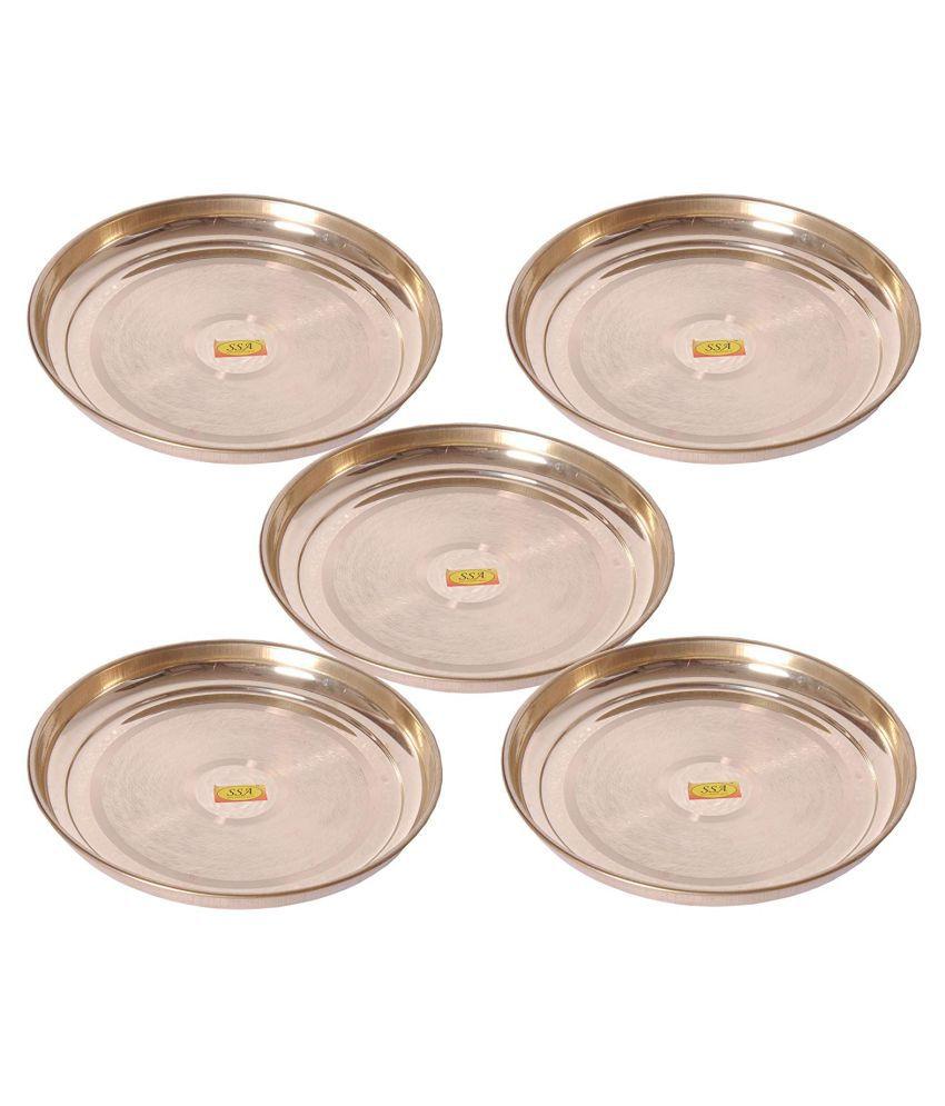 Shiv Shakti Arts Dinnewware Plates Brass Dinner Set of 5 Pieces