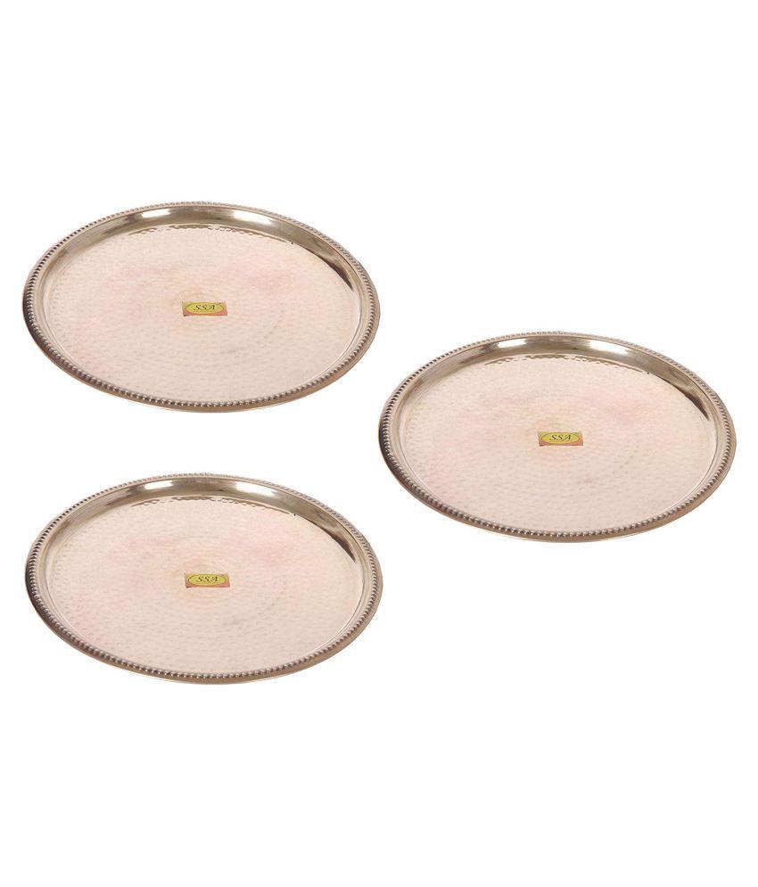Shiv Shakti Arts Dinnewware Plates Brass Dinner Set of 3 Pieces