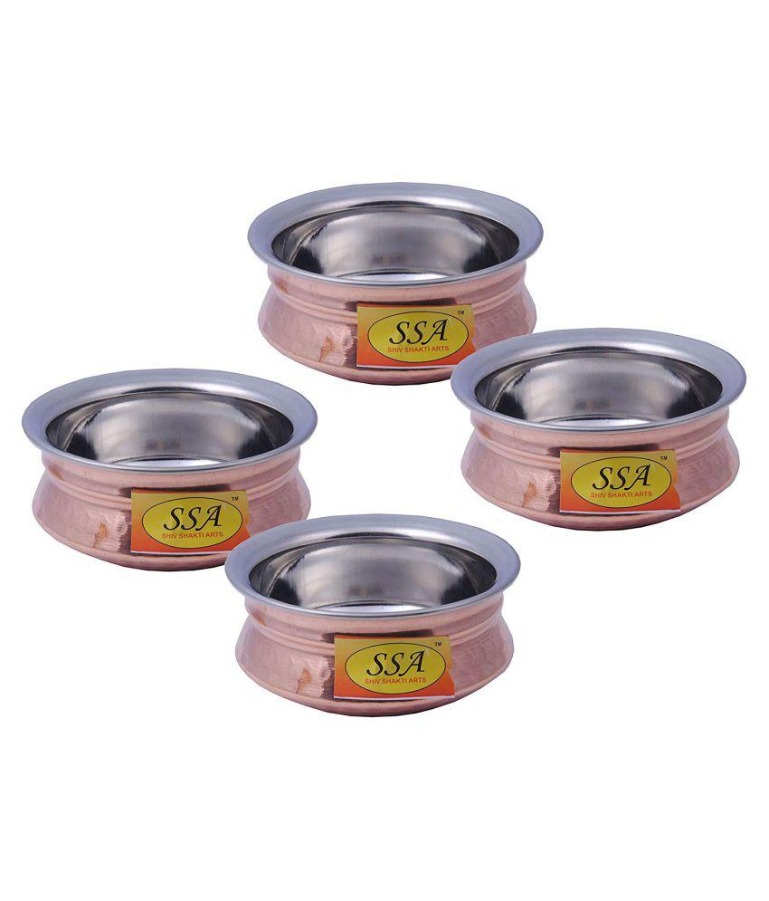 Shiv Shakti Arts Steel Copper Handi 4 Piece Cookware Set