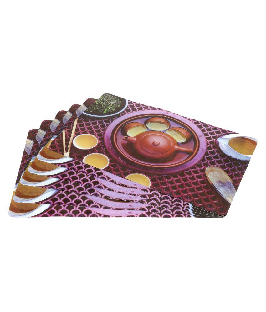 Khushi Creation Set of 6 PVC Brown Fridge Mats