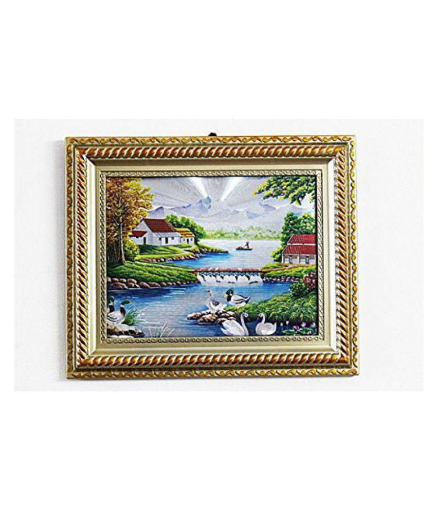 Laps of Luxury Glass Beautiful Nature Scenery Wall Sculpture Multi - Pack of 1