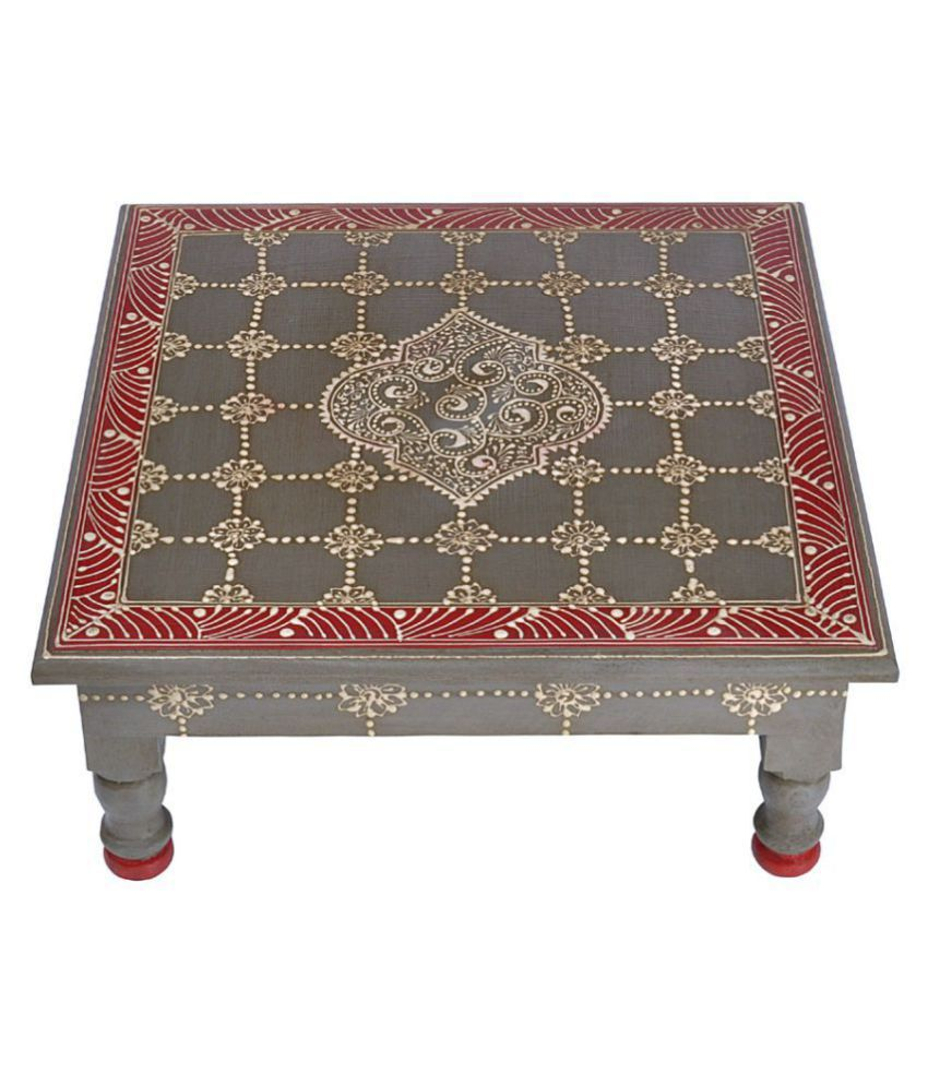 Lalhaveli Square Shape Decorative Wooden End Table Low Height Side Footstool13 x 13 x 5.5 Inch