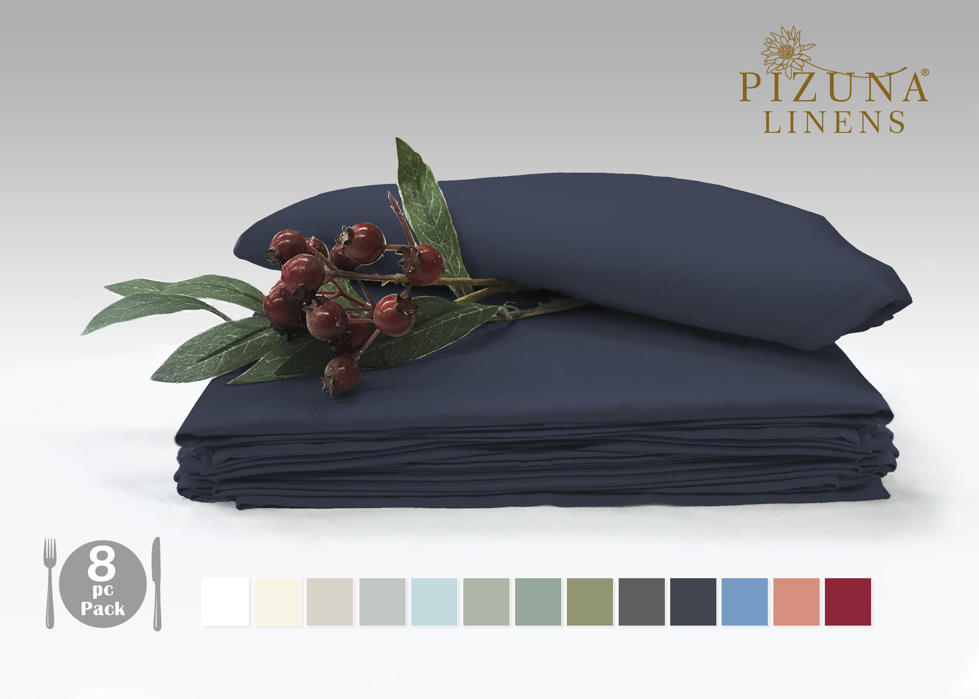 Pizuna Linens Set of 8 Cotton Napkin