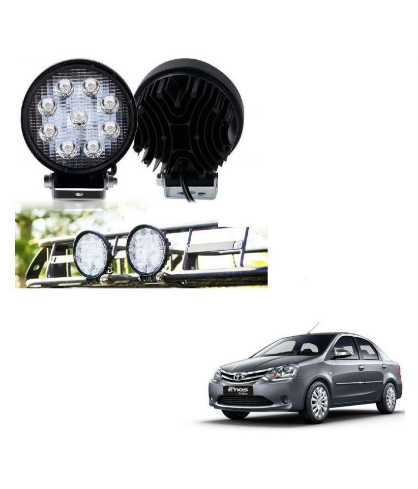 Auto Addict DEVICE 4 inch, 9 LED 27Watt Round Fog Light with Flood Beam Auxiliary Lamp Set Of 2 Pcs For Toyota Etios